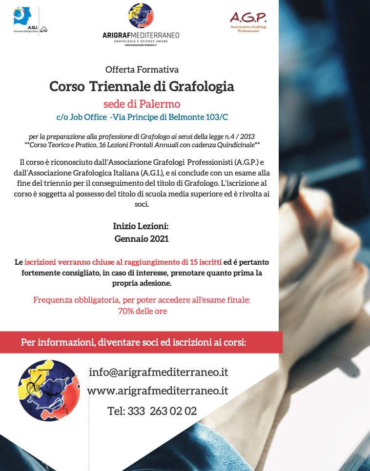 Corso Triennale Grafologia Palermo 2021